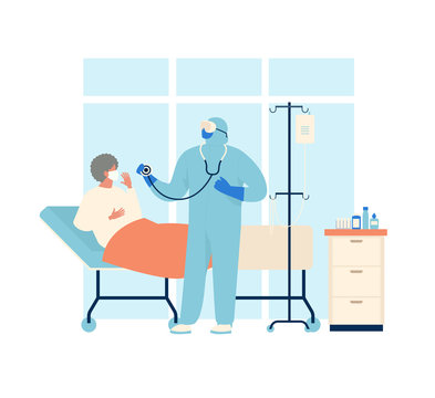 Coronavirus patient is in hospital. Novel coronavirus 2019 nCoV, people in in protective special clothingwhite and medical face mask. Concept of coronavirus quarantine vector illustration