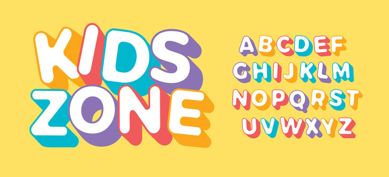 3D letter set for Kids Zone. Font for children birthday party, festive, kids logo or colorful funny poster. Simple flat multi color alphabet. Vector typography