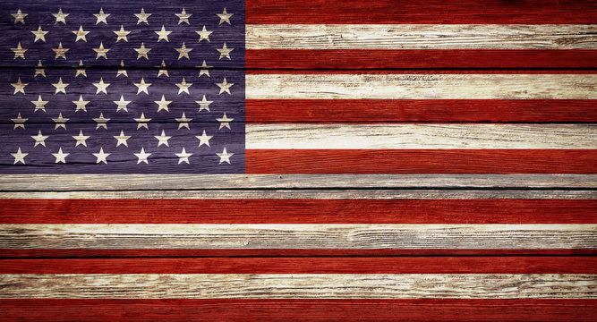 United States flag wooden plank background