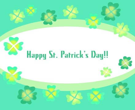 St patricks day banner poster with soft green colors. Clover shamrocks in watercolor texture. Vector illustration design.