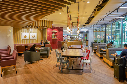 HONG KONG, CHINA - CIRCA JANUARY, 2019: interior shot of Pret a Manger. Pret a Manger is an international sandwich shop chain based in the United Kingdom.