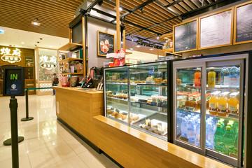 HONG KONG, CHINA - CIRCA FEBRUARY, 2019: food and drinks on display at Starbucks Coffee in Hong Kong.