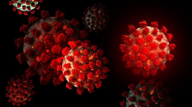 Coronavirus SARS - CoV-2 (Covid-19) microscopic view. Abstract background. 3D render illustration.