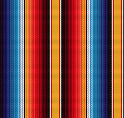 Photo sur Aluminium Style Boho Blanket stripes seamless vector pattern. Background for Cinco de Mayo party decor or ethnic mexican fabric pattern with colorful stripes.