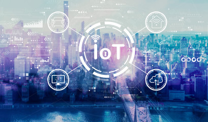 IoT theme with the New York City skyline near midtown