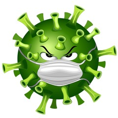 Zelfklevend Fotobehang Draw Coronavirus Evil Virus Cartoon Character with Face Mask against Covid-19 Vector illustration isolated on white.