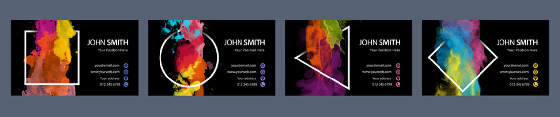 Fotobehang - Bundle set of business card template with colorful vector watercolor splash in geometric frame on black background
