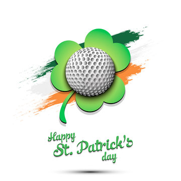 Happy St. Patrick's day and golf ball