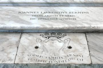 Tombstone of Italian sculptor and architect Gian Lorenzo Bernini at Basilica Papale di Santa Maria Maggiore, Rome