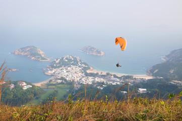 Paragliding over Shek O, Hong Kong