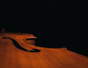 Double bass body with no background