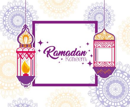 ramadan kareem poster with lanterns hanging vector illustration design