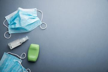 Protective medicine face mask, antiseptic gel, soap. Health care hygiene protection against virus, bacteria, flu and coronavirus.