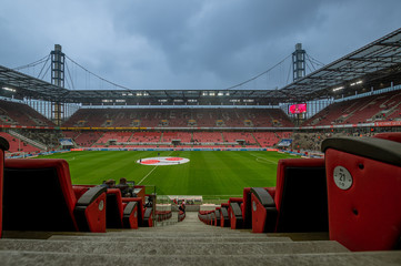 The empty stadium of 1. FC Köln at 15.03.2015 as a symbol for the current regulations of no big events in germany because of the corona virus threat.