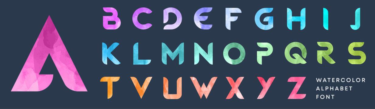 Simple bold watercolor textured font. Colorful letters set. Business logo design template bundle.