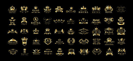 Golden Hotel Luxury Logo Set - Isolated On Black Background, Vector.Icons Collection Of Golden Hotel Logo, Emblem And Label.Useful For Badge,Seal And Design Template.Vector Illustration Of Luxury Logo