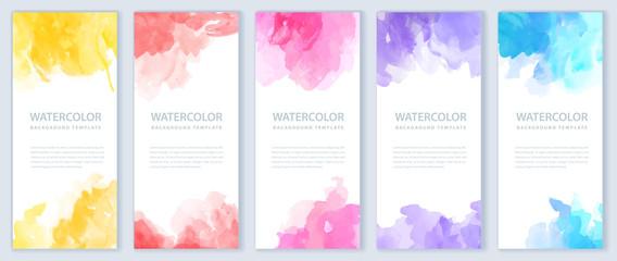 Fotobehang - Flyer or banner template design bundle set with watercolor background