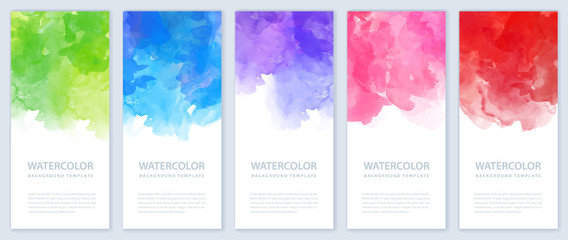 Tuinposter Vormen Flyer or banner template design bundle set with watercolor background