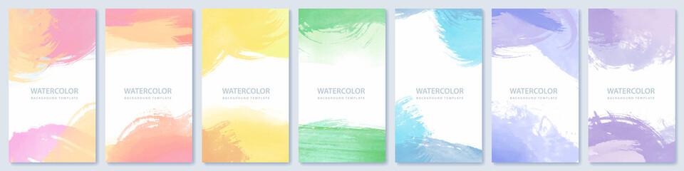 Fotobehang - Set of light colorful expressive vector watercolor backgrounds for poster, brochure or flyer