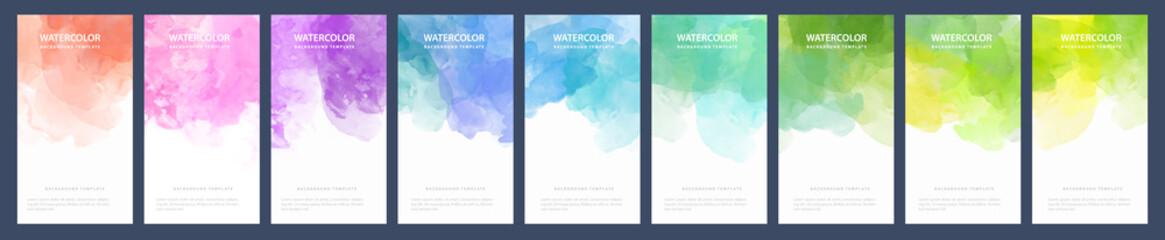 Big bundle set of light colorful vector watercolor backgrounds for banner or flyer