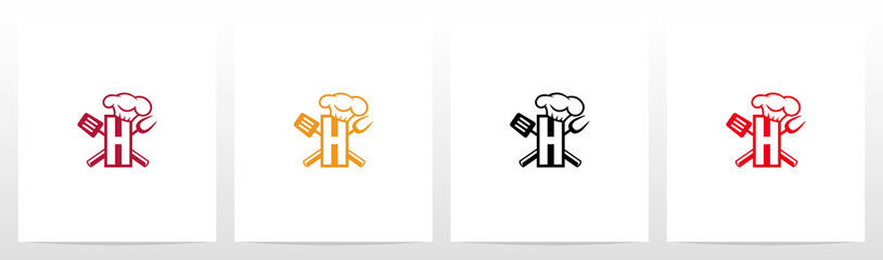 Spatula And Chef Hat On Letter Logo Design H