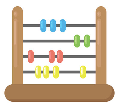 Abacus tool, illustration, vector on white background.