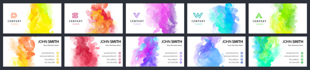 Fotobehang - Big set of bright colorful business card template with vector watercolor background