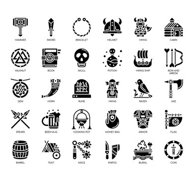 Set of viking thin line and pixel perfect icons for any web and app project.