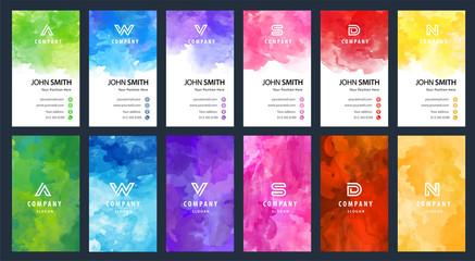 Big set of bright colorful business card vector vertical template with watercolor background Wall mural