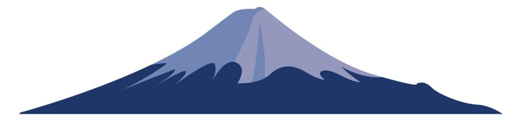 Tuinposter Nachtblauw Mount Fuji, illustration, vector on white background.