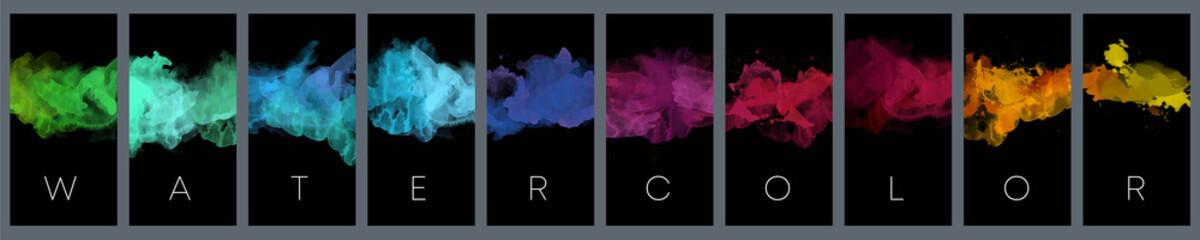 Fotobehang - Big set of bright vector colorful watercolor on vertical black background for poster, brochure or flyer