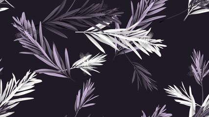 Foliage seamless pattern, bottle brush leaves in purple tones