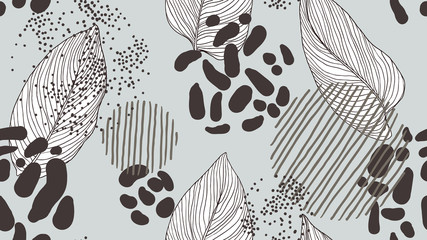 Abstract seamless pattern, leaves and various line art ink drawing in black on light blue