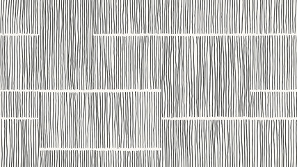 Abstract seamless pattern, vertical line art ink drawing in black on light grey Wall mural