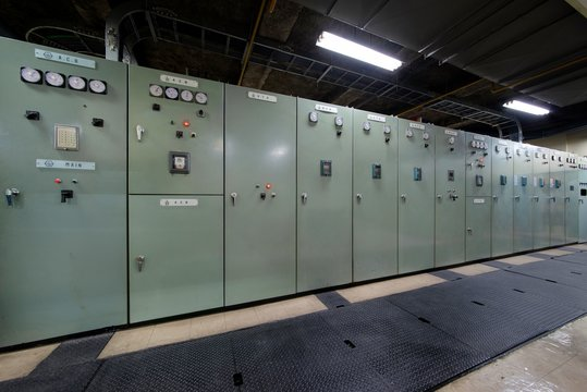 Switchgear switch panel in electrical room