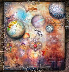 Spoed Fotobehang Imagination Surreal landscape with planets, stars, magic mushrooms and heart