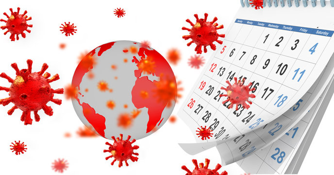 virus covid-19 virus coronavirus tbackground pandemic , calendar montly - 3d rendering