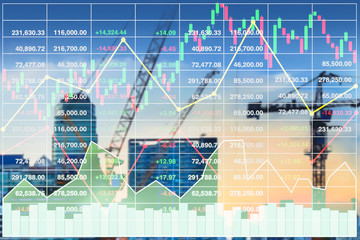 Stock index financial investment diagram data on blurry vision of future property and construction industry image background.