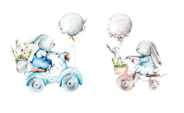 Hand drawing watercolor spring set of bunny on bikes with balloons and flowers in basket and bucket. illustration isolated on white