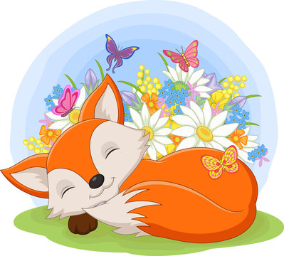 Cute baby fox sleeping in the grass among the flowers