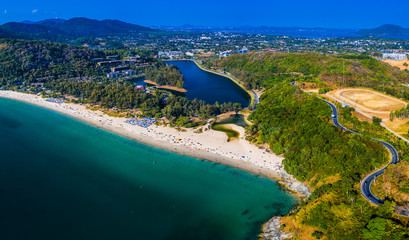 Wall Mural - Aerial view of Nai Harn beach on the island of Phuket in Thailand during sunny day