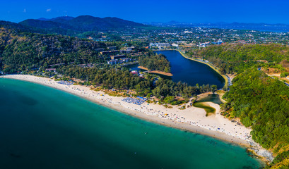 Fototapete - Aerial view of Nai Harn beach on the island of Phuket in Thailand during sunny day