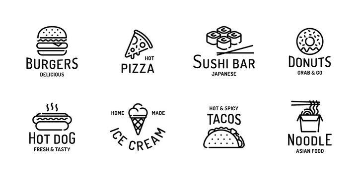 Street Fast Food Logo Set