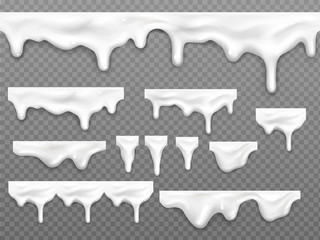Realistic dripping milk drops, melted white liquid yoghurt, mayonnaise splashes, glossy seamless cream border with falling droplets, molten texture isolated on transparent background, 3d vector mockup