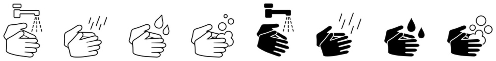 Wash your hands icons set, simple black and white hand drawing with water tap, drop, soap bubble sign