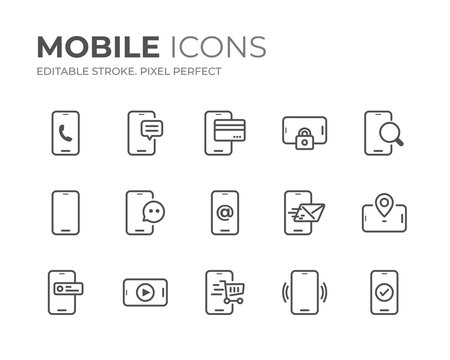 Mobile Phone Line Icons Set