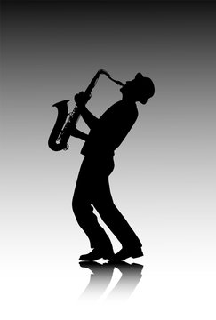 male saxophonist silhouette