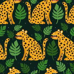 Door stickers Bestsellers Kids Leopards, palm leaves, hand drawn backdrop. Colorful seamless pattern with animals. Decorative cute wallpaper, good for printing. Overlapping background vector. Design illustration