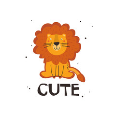Door stickers Bestsellers Kids Hand drawn illustration with lion, english text. Cute. Colorful background. Poster design with animal. Decorative backdrop vector. Funny card
