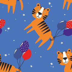 Door stickers Bestsellers Kids Happy tigers, hand drawn backdrop. Colorful seamless pattern with animals, air balloons. Decorative cute wallpaper, good for printing. Overlapping background vector. Design illustration